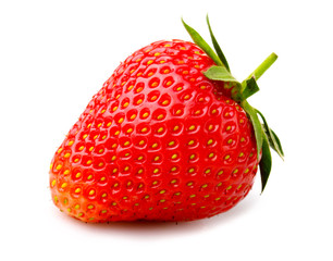 Ripe strawberry with leaves isolated on a white