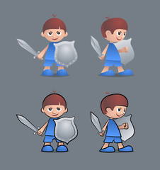Cartoon young boy as a brave little knight with sword and shield
