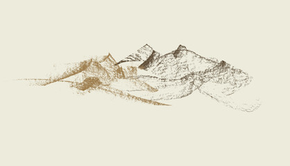 Graphite hand drawn mountains vector illustration