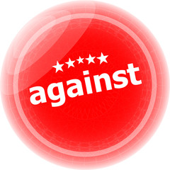 against red stickers on white, icon button