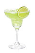 Classic margarita cocktail with lime slice and salty rim - 64880963