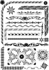 graphic pattern with plant and floral elements in art nouveau st