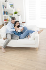 cheerful couple using digital tablet in sofa at home