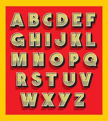 Retro vintage font type. Vector alphabet