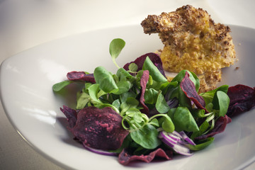 Chicken supreme baked breaded Pancho with salad beetroot chips
