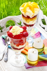 Layer fruit desserts on wooden tray. Summer garden party