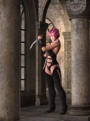 Pigtailed fantasy assassin