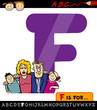 letter f with family cartoon illustration