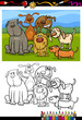 dogs group cartoon coloring book