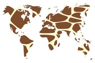 World map in animal print design, girrafe