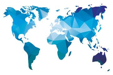 World map in geometric triangle pattern design