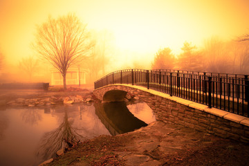 morning light and fog over pond with footbridge