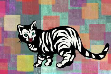 chat tigré sur fond arc-en-ciel