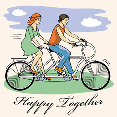 couple of cyclists on tandem bicycle