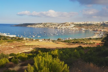 Afternoon view of the Mellieha Bay, Malta
