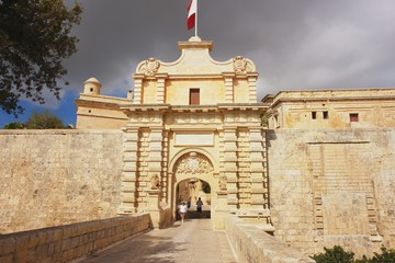 View of the entrance gate to the old city Mdina, Malta