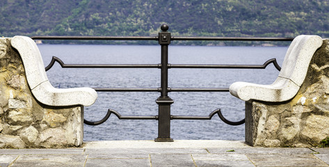 Marble benches over the Lake Maggiore