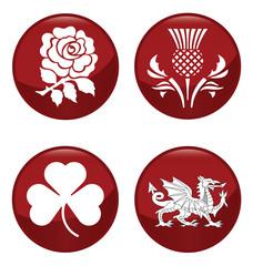 United Kingdom emblem red button set