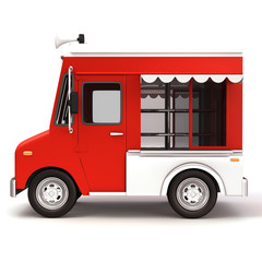 Red food truck side