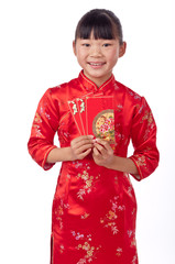 Holding red envelope chinese girl in traditional  cheongsam