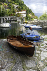 Cannero Riviera, Lake Maggiore, small fishing harbor color image