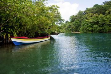 yahct in Jamaica blue Lagoon