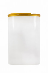 closeup of a white plastic container isolated