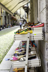 Artistic shoes exposition color image