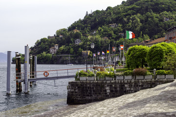 Cannero Riviera, Lake Maggiore, ferry harbour color image