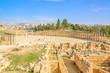 Oval Forum in the ancient Roman City of Gerasa, Jerash, Jordan.