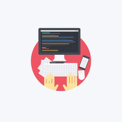 Flat programmer Illustration