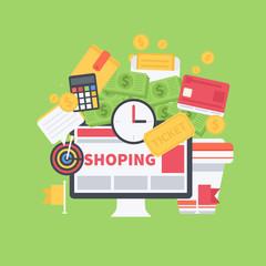Vector Flat shopping illustration