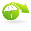 parapluie sur web symbole vert