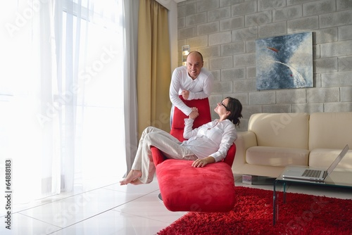 happy young couple relax at home