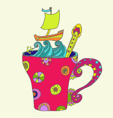 tea cup with ship