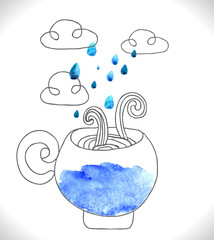 tea cup with clouds and rain