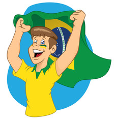 Torcedor brasileiro vibrando
