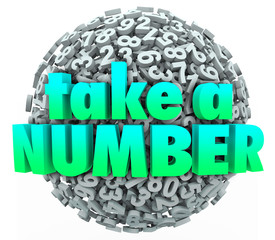 Take a Number Words Ball Sphere Wait Patinence Turn Queue