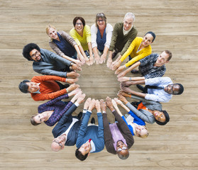 Aerial View of Multiethnic People Forming Circle of Hands