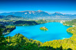 Famous Bled Lake,church and castle,Slovenia,Europe