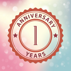 1 Years Anniversary-Retro seal, with colorful bokeh background