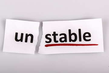 The word unstable changed to stable on torn paper