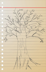 hand draw sketch, dead tree