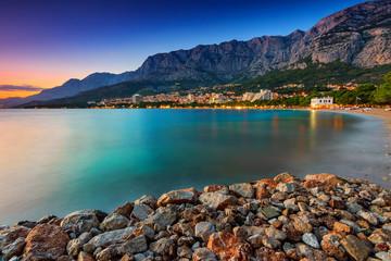 Beautiful Croatian resort at sunset,Makarska,Dalmatia,Europe