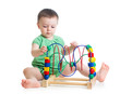 baby girl with educational toy