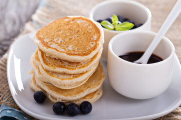 Eggless pancakes with blueberries and chocolate