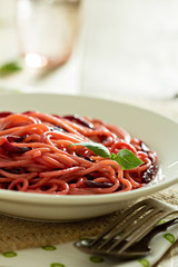 Pasta with beetroot