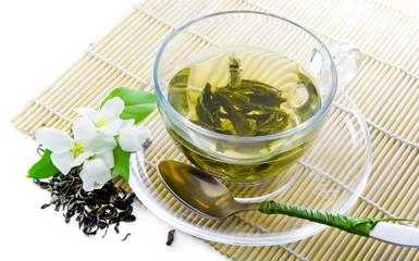 Green tea  and jasmine flowers