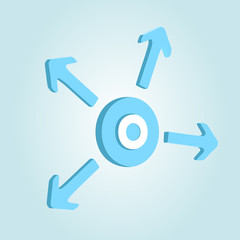 Circle with four arrows. Vector illustration