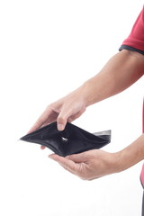 Hand Holding Empty Wallet on white background